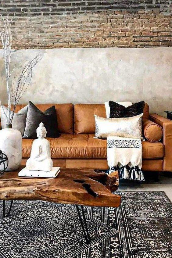 Tapete grande para sala de estar com sofá estilo industrial