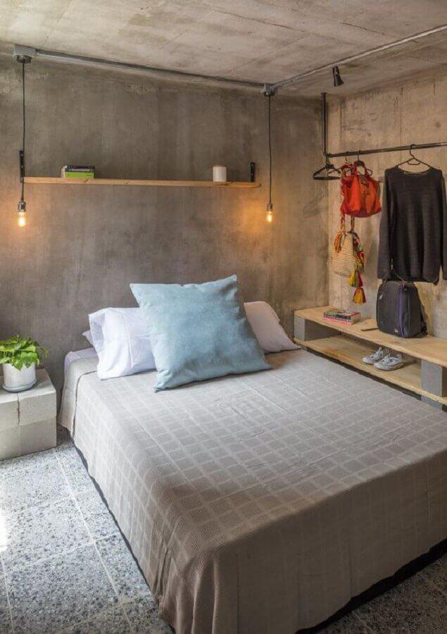 teto e parede de cimento queimado para decoração de quarto industrial Foto Casa de Valentina