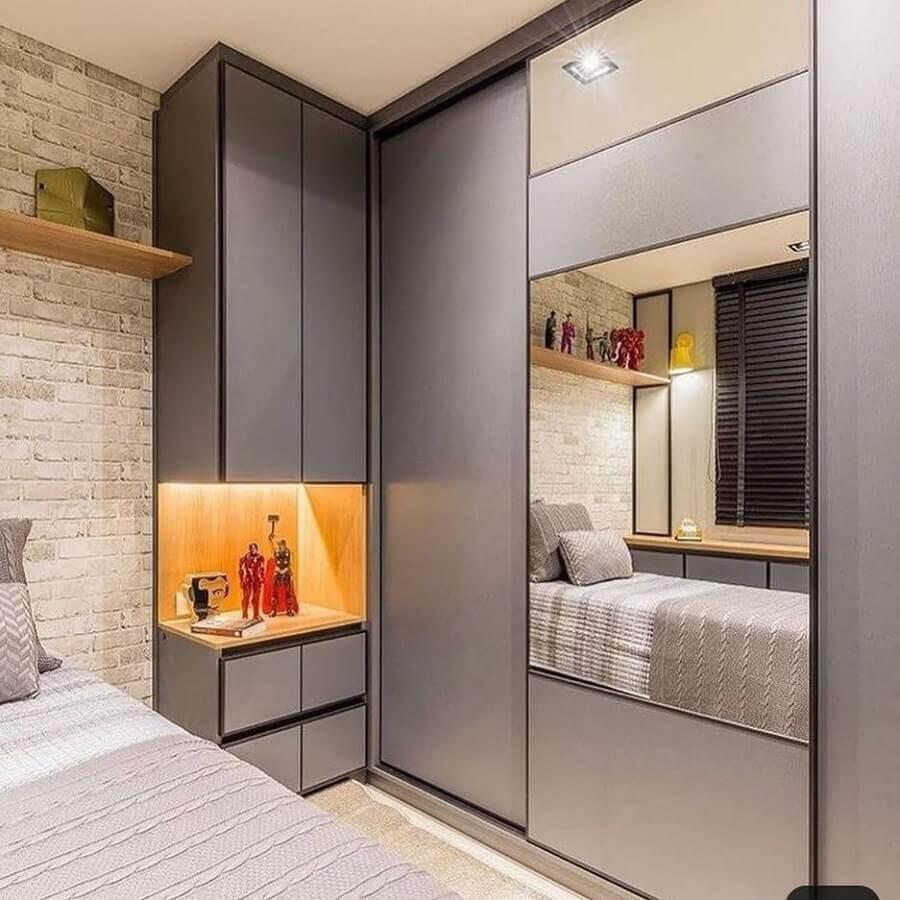 tons de cinza para decoração com armário de quarto planejado Foto Pinterest