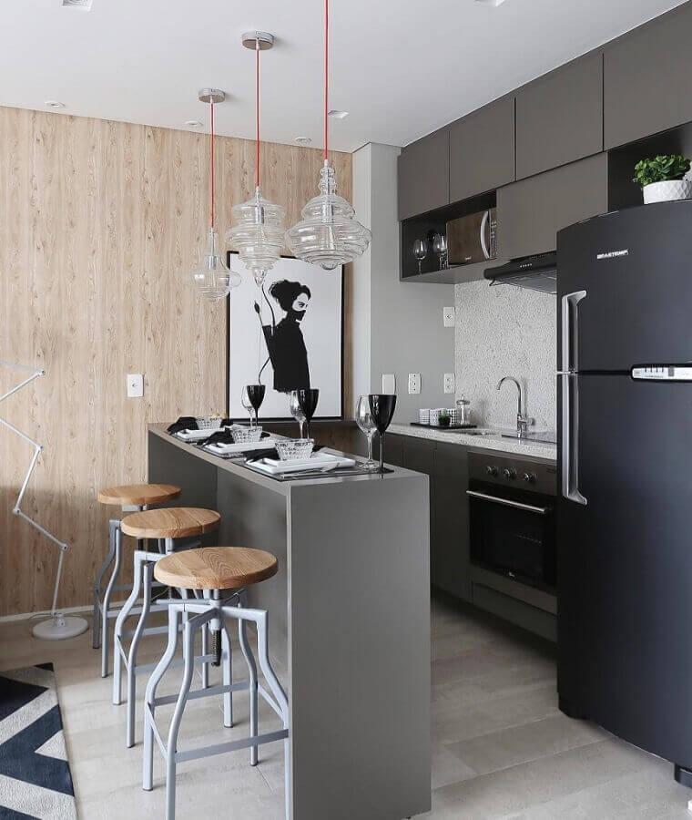 tons de cinza para decoração de cozinha estilo americana pequena Foto Dicas Decor