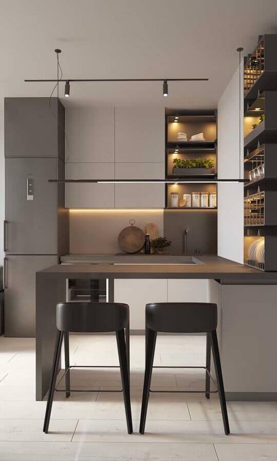 tons de cinza para decoração de cozinha planejada estilo americana moderna Foto Futurist Architecture
