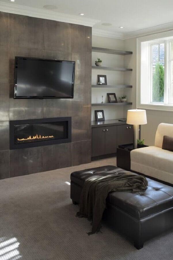 tons de cinza para decoração de sala com lareira Foto Home Stratosphere