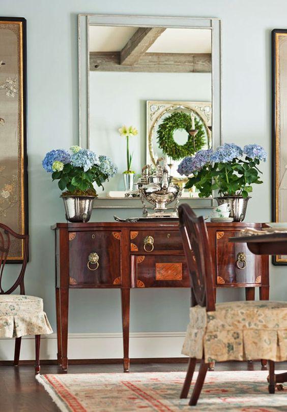 Aparador buffet vintage para sala de jantar de madeira