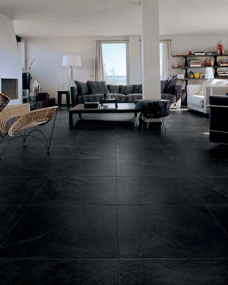 Ardósia preta para piso da sala de estar sofisticada