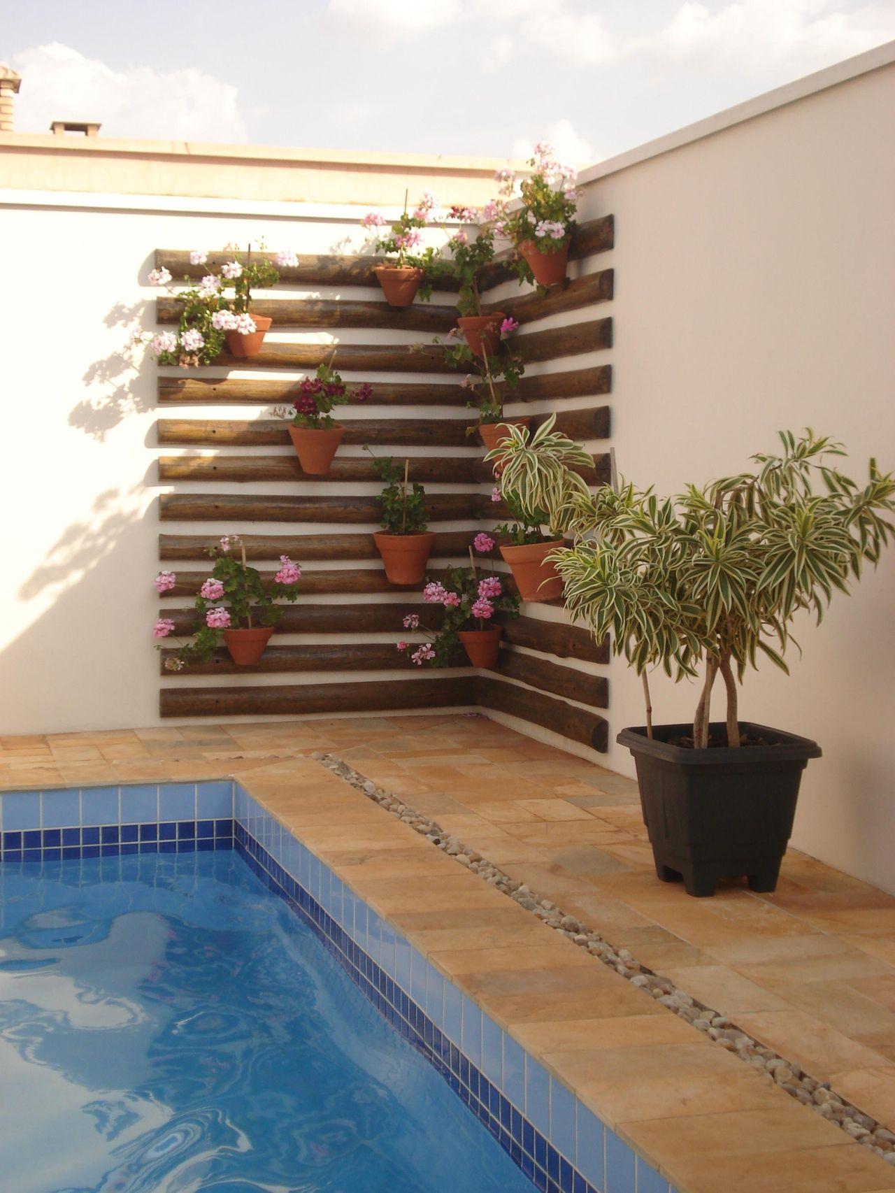 Area do jardim com parede de tacos e vasos de orquideas