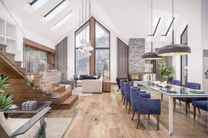 Carpete de madeira para sala de estar moderna