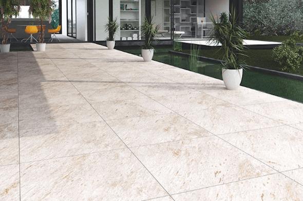 Cerâmica para garagem bege na área externa