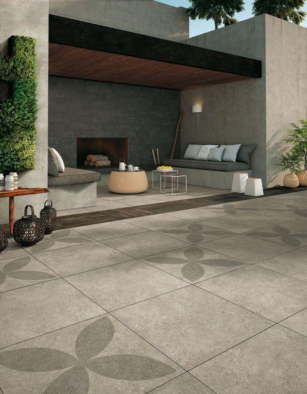 Cerâmica para garagem cinza com área externa