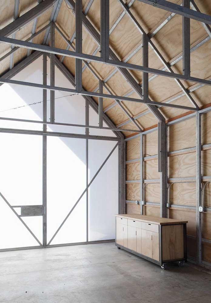 Cerâmica para garagem cinza queimado com móveis de madeira