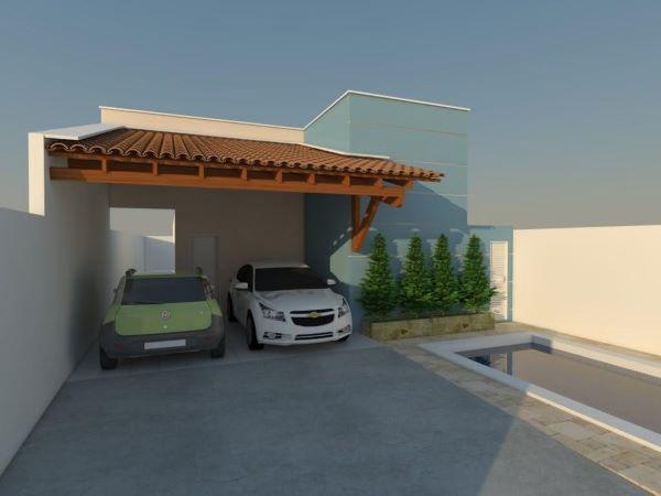 Cerâmica para garagem com cobertura de madeira a telhas