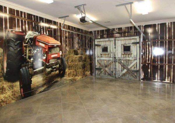 Cerâmica para garagem moderna com papel de parede motorizado