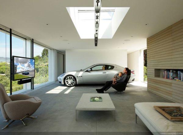 Cerâmica para garagem moderna e área de lazer com tv