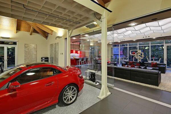 Cerâmica pra garagem moderna em cinza e branco