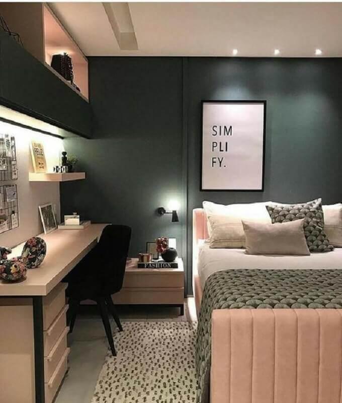 Como decorar um quarto feminino cinza e rosa modernoo Foto Pinterest