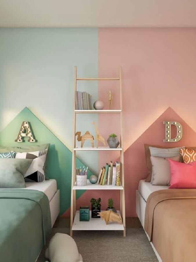 Como decorar um quarto infantil compartilhado verde e rosa Foto Pinterest