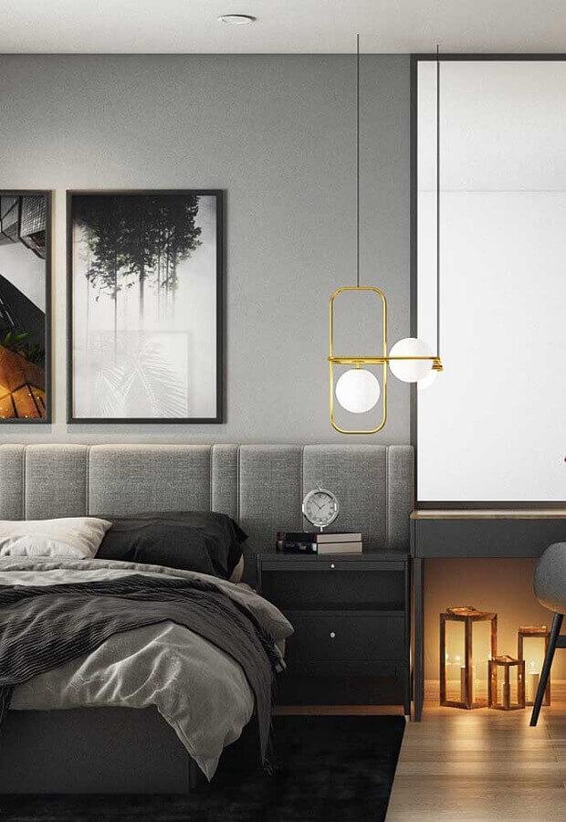 Como decorar um quarto moderno em tons de cinza com luminária dourada Foto Futurist Architecture