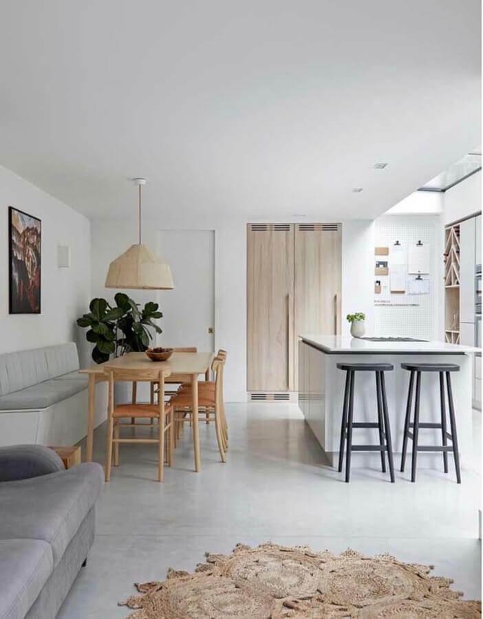 Cores claras para decoração de cozinha aberta com sala de jantar e estar integradas Foto Home Fashion Trend
