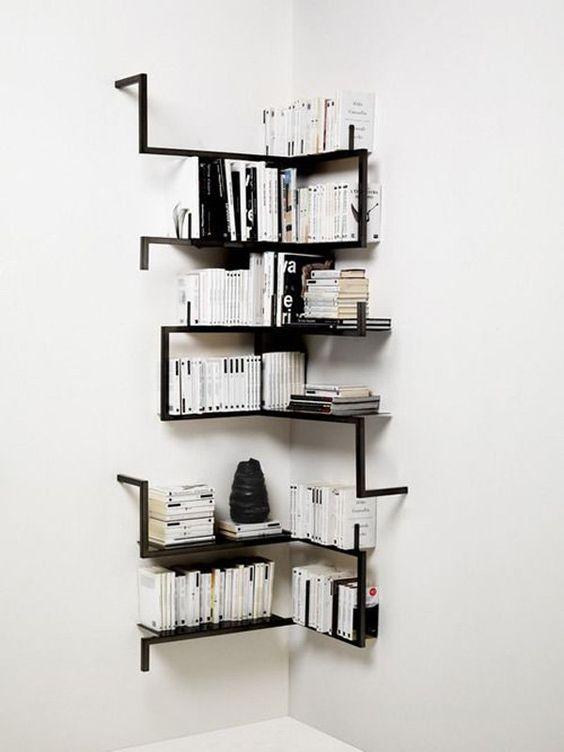 Decoração com estante de canto de ferro moderna