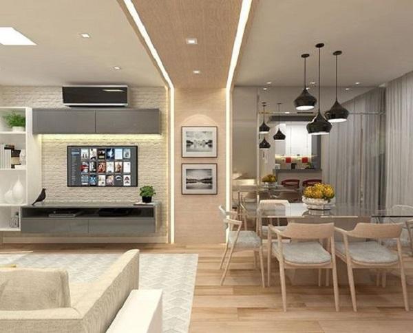 Decoração de gesso e luz para dividir ambientes pelo teto
