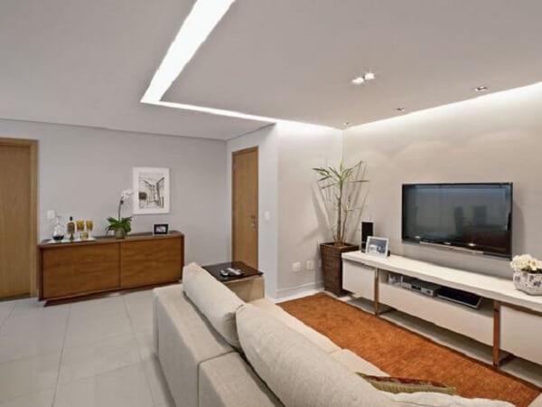 Decoração com gesso na sala de estar moderna