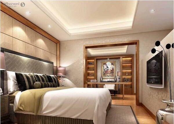 Decoração com gesso no teto do quarto aconchegante