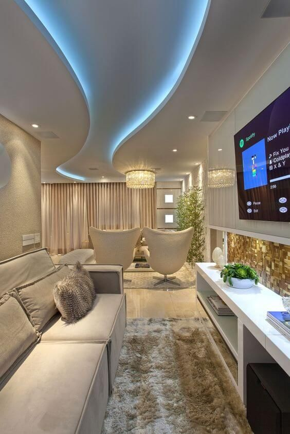 Decoração com gesso para sala de estar iluminada