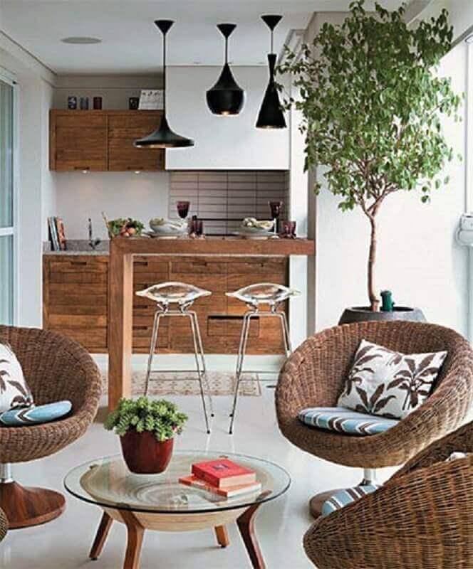 Decoração com lustre para área gourmet de apartamento Foto Simples Decoração