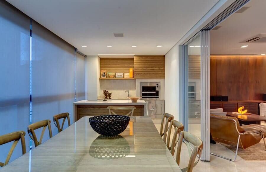 Decoração de apartamento com varanda gourmet e sala de estar integrada Foto Homify