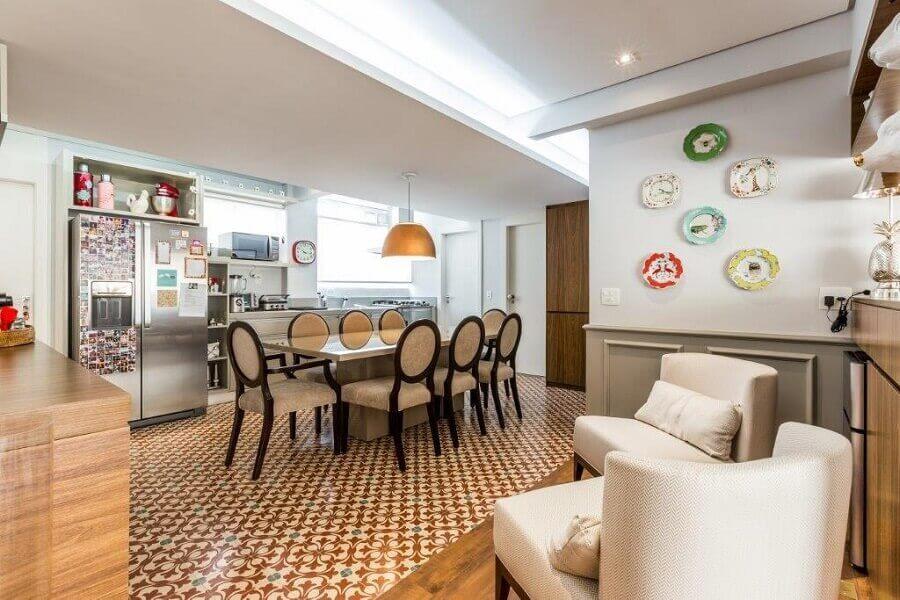 Decoração de cozinha aberta com sala de jantar integrada Foto Rima Arquitetura