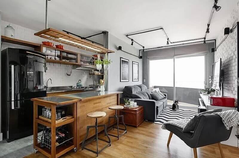 Decoração estilo industrial para cozinha aberta com sala de apartamento Foto 3P Studio