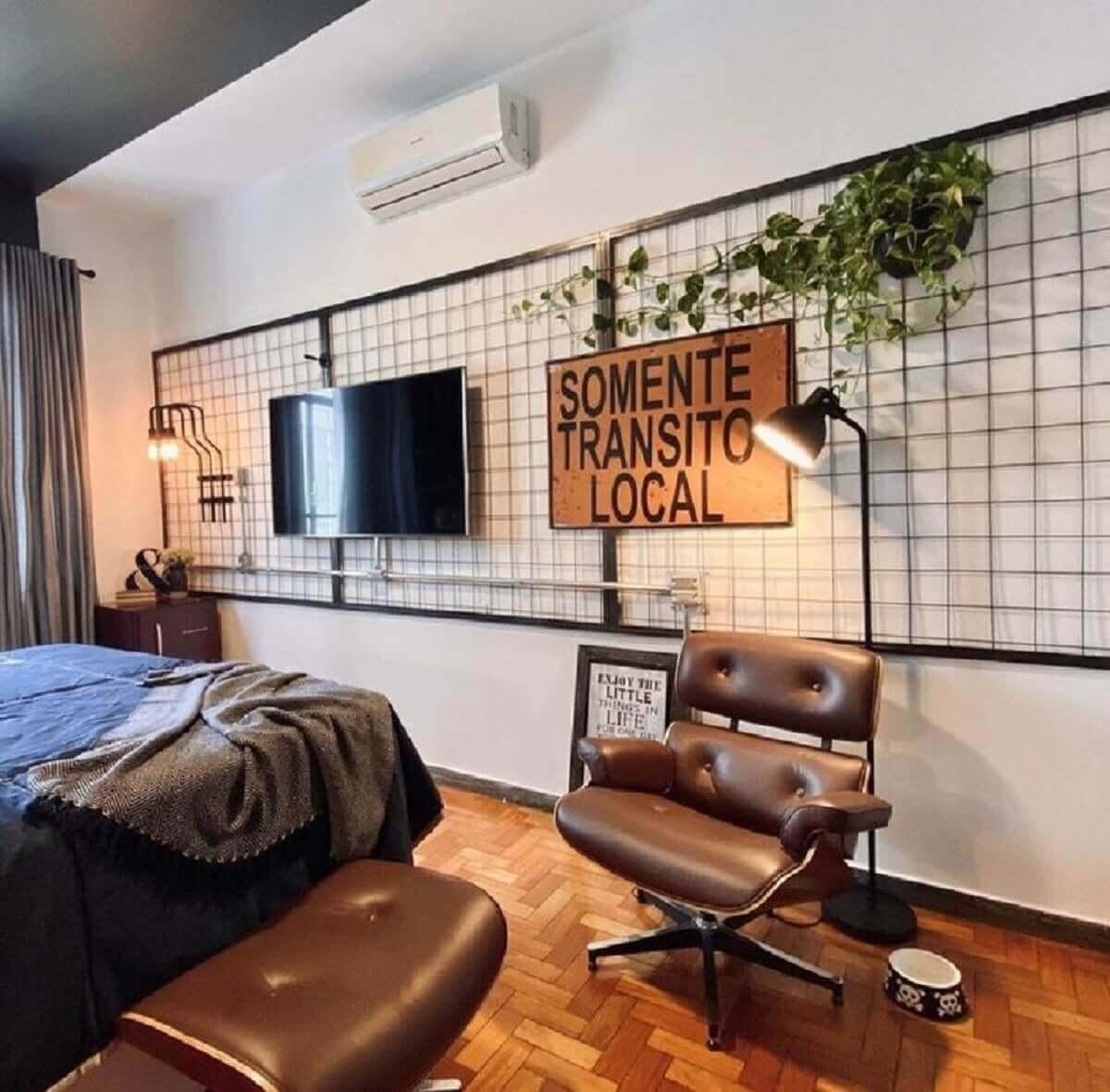 Decoração industrial para quarto com painel aramado Foto Freepik
