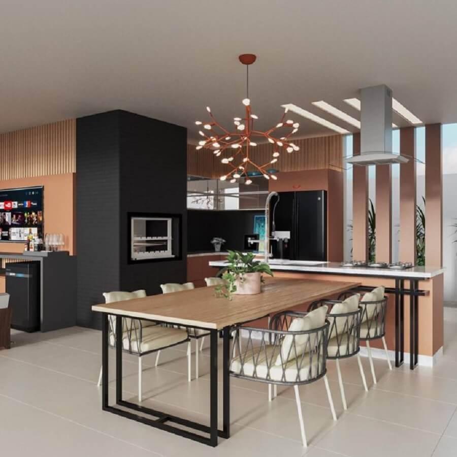 Decoração moderna com lustre para área gourmet planejada com detalhes sofisticados Foto Jeito de Casa