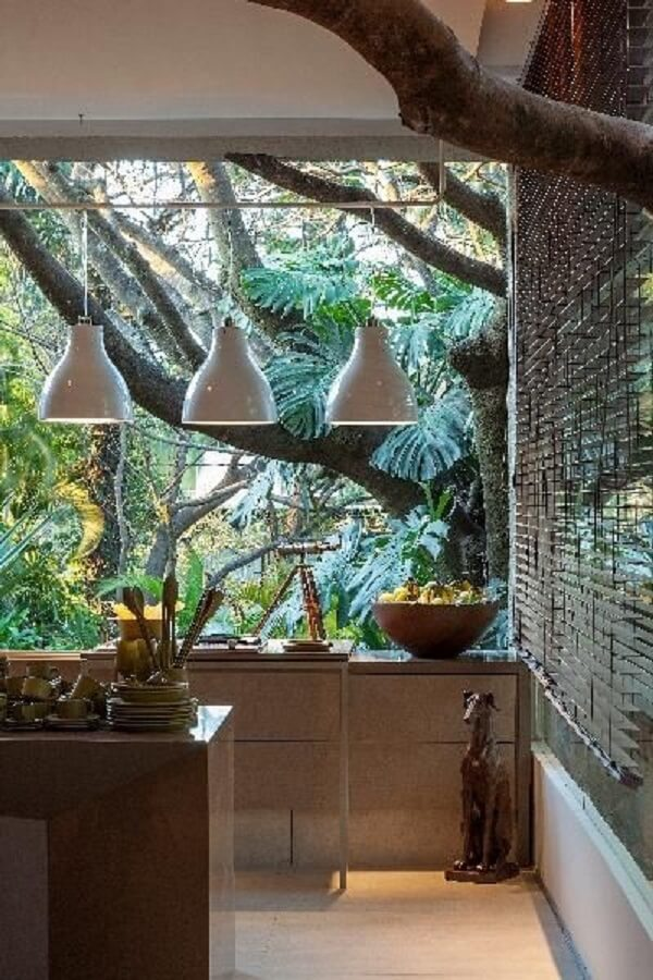 Deixe as plantas para cozinha feng shui invadirem a decoração. Projeto de Luis Fabio Rezende de Araújo