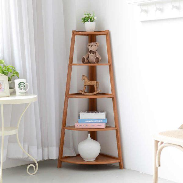Estante de canto de madeira para quarto infantil