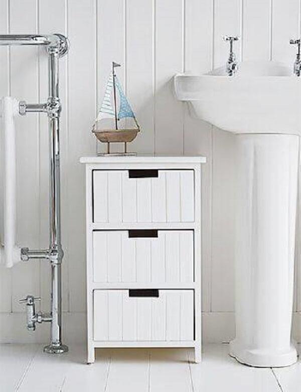 Gaveteiro organizador branco para banheiro. Fonte: Revista VD