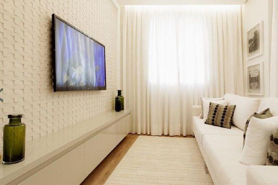 Ideia de cores para sala pequena decorada com revestimento 3D  Foto Sesso & Dalanezi Arquitetura