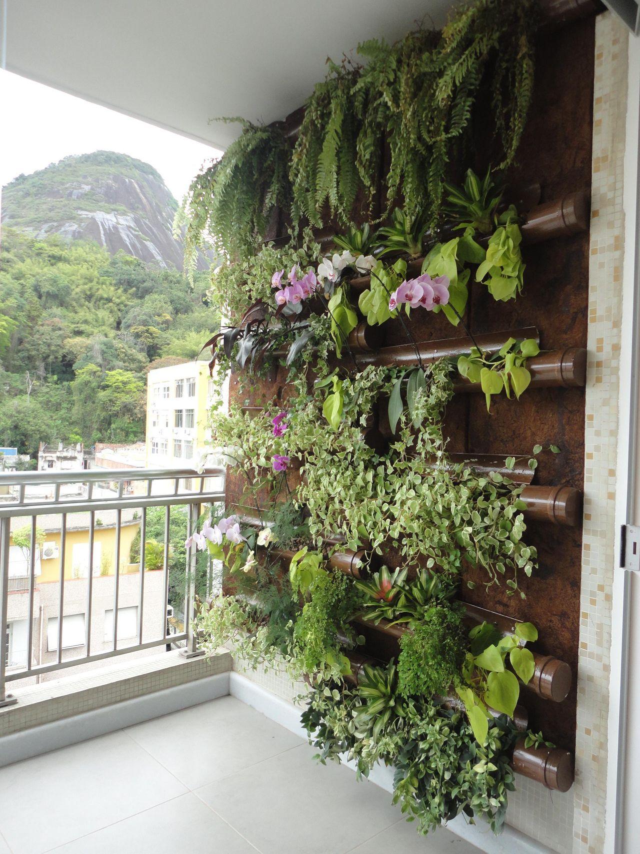 Jardim vertical decorado com plantas aéreas