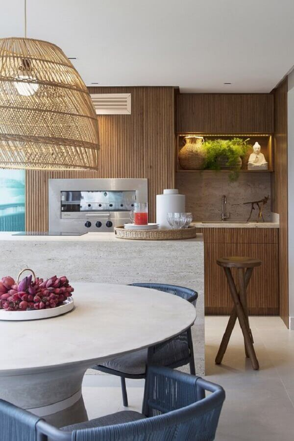 Luminária rústica para decoração de apartamento com varanda gourmet e churrasqueira Foto Casa de Valentina
