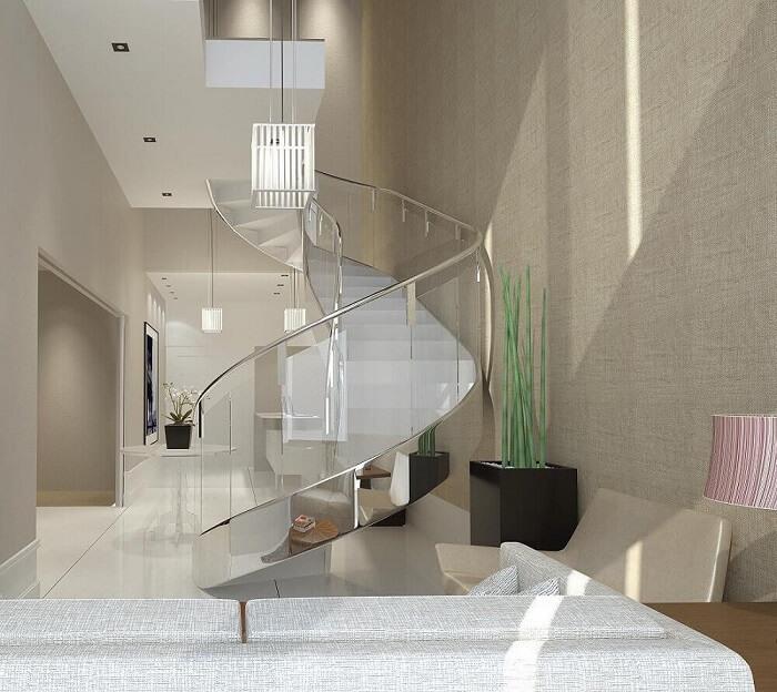 Lustre para escada caracol com design moderno e sofisticado. Fonte: Pinterest