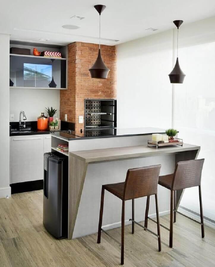 Lustre pendente para área gourmet pequena com decoração simples Foto Pinterest