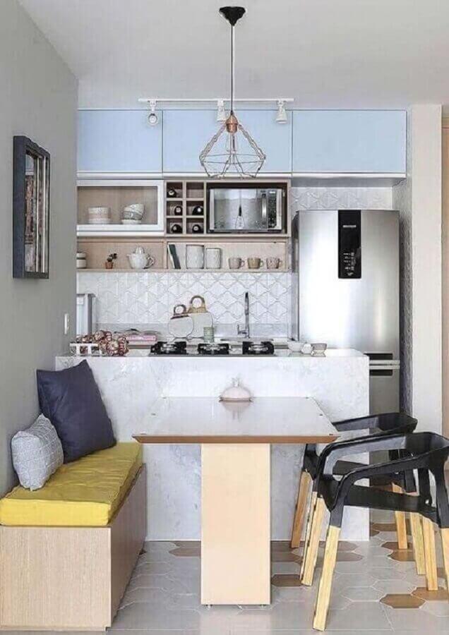 Mesa branca para decoração de cozinha aberta pequena  Foto Decor Fácil