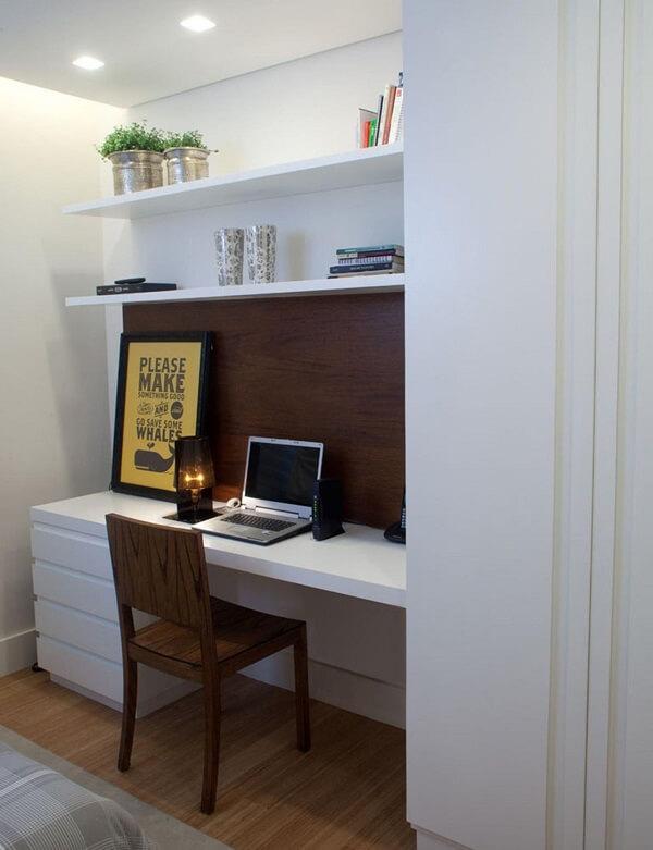 Modelo de gaveteiro madeira branco para home office. Projeto de Ana Yoshida