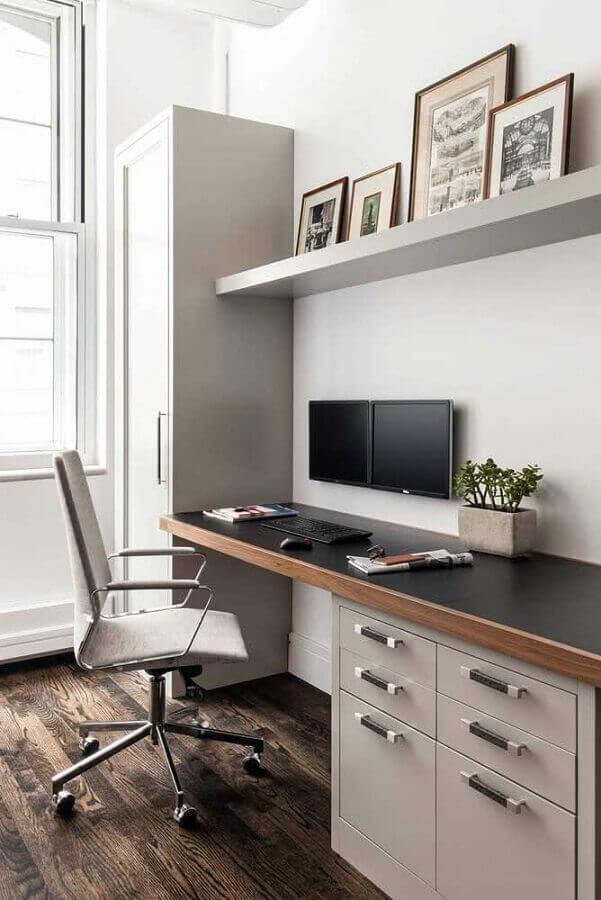 Modelos de escrivaninha para home office decorado em cores neutras Foto Archzine