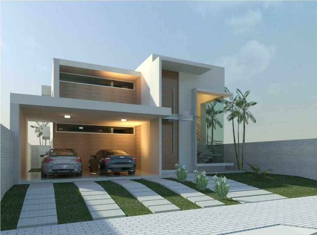 Modelos de garagem cobertas para casa grande