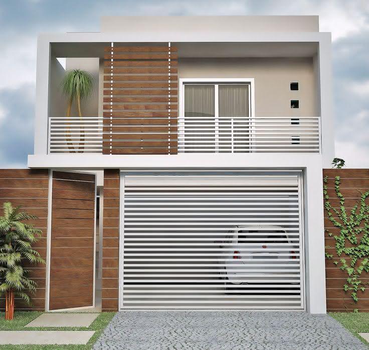 Modelos de garagem com portão branco