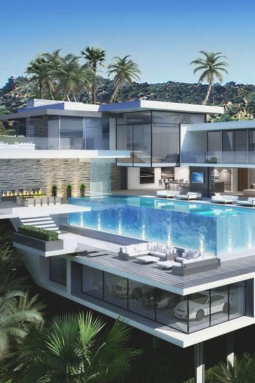 Modelos de garagem para mansão com piscina
