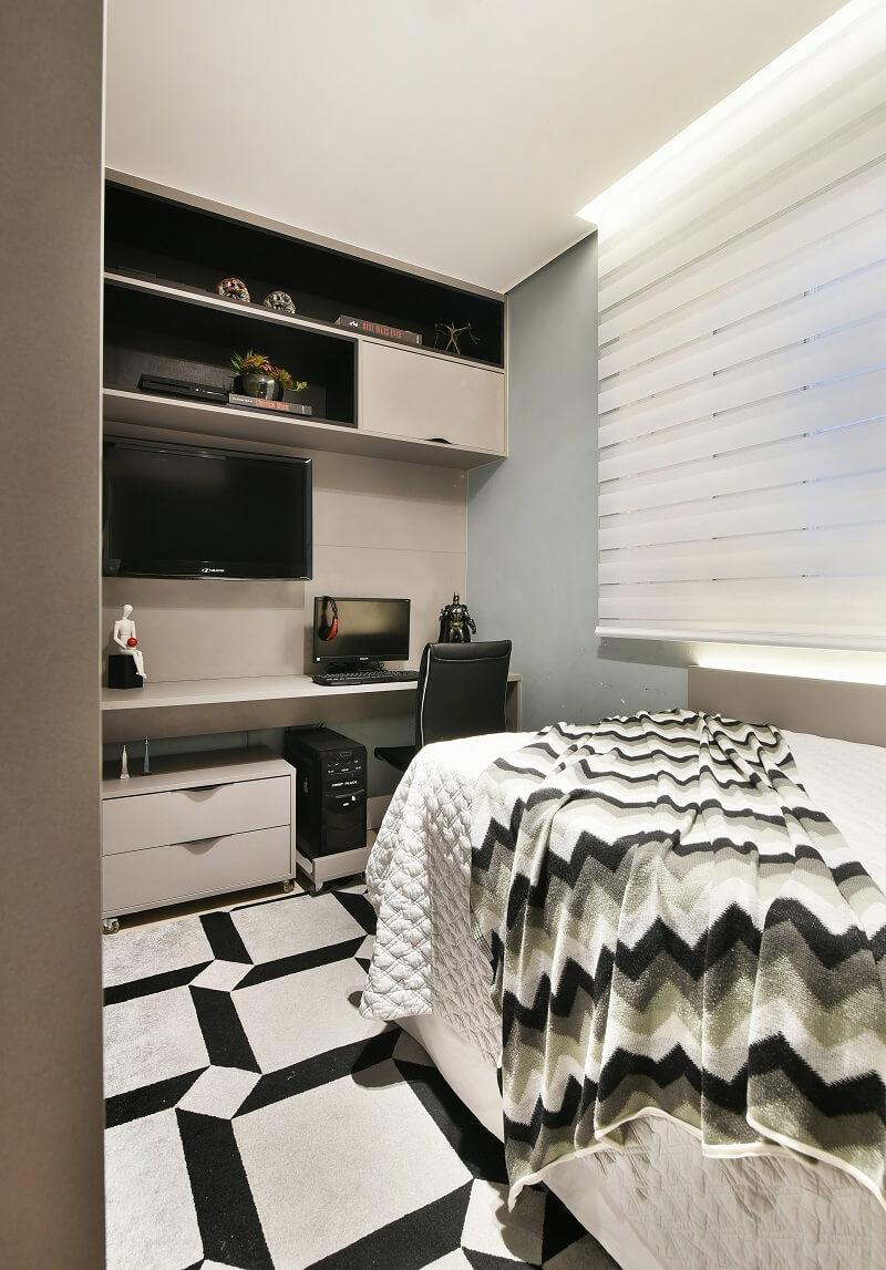 O quarto do filho é aconchegante e funcional. Foto: Sidney Doll