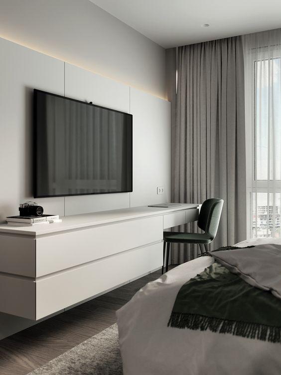 Painel com rack TV para quarto moderno e minimalista