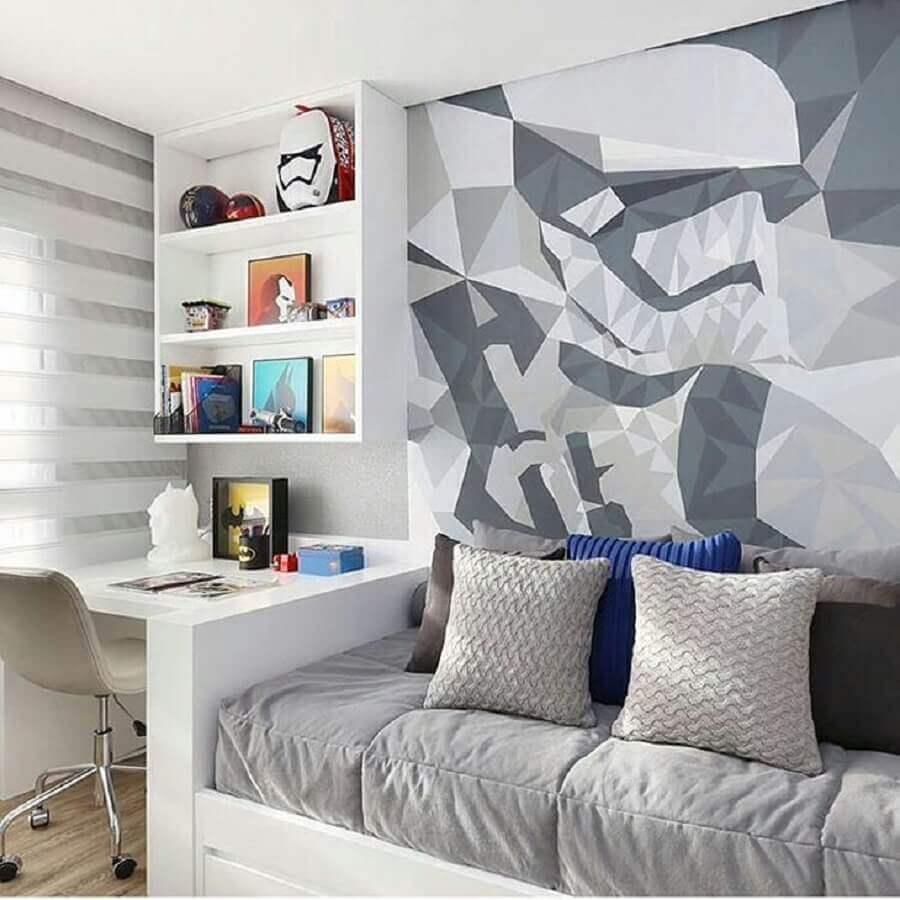 Papel de parede moderno para decoração de quarto masculino pequeno Foto Chris Silveira