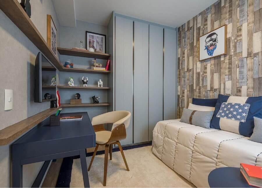 Papel de parede rustico para decoração de quarto masculino pequeno azul e cinza Foto Newlar Móveis